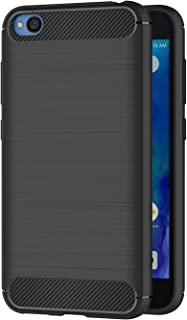 Case for Xiaomi Redmi Go (5 inch) Soft Silicon Luxury Brushed with Texture Carbon Fiber Design Protection Cover (Black)