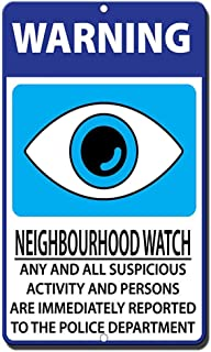 Vintage Art Poster Plaque,Novelty Warning Sign,12x16inchs-Neighborhood Watch Suspicious Persons Immediately Reported Police Sign Informative Novelty Wall Art