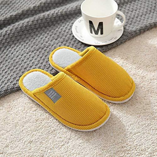 N\C Home - Zapatillas de algodón para el hogar de otoño e invierno con suela gruesa antideslizante y cálidas, zapatillas para interiores y dormitorios 44/45, color amarillo
