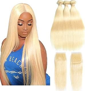 Queen Plus Hair Straight 613 Blonde Hair Bundles With Lace Closure Free Part Honey Blonde Brazilian Virgin Hair Weave 7A Blonde Human Hair (14 16 18 with 12)