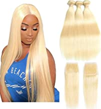 Queen Plus Hair Straight 613 Blonde Hair Bundles With Lace Closure Free Part Honey Blonde Brazilian Virgin Hair Weave 7A Blonde Human Hair (10 12 14+8 inch)