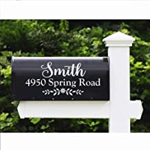 WallzTalk Set of 2 Personalized Mailbox Decal Custom Address Sign Family Name Decal Vinyl Lettering Farmhouse Decor 6.5