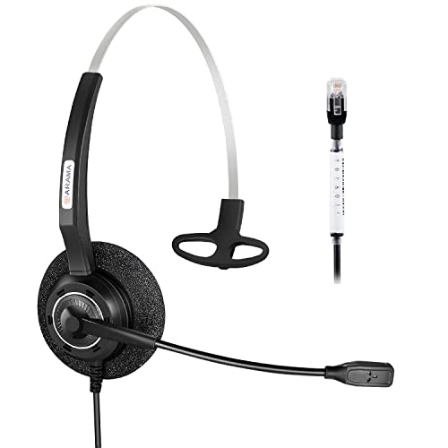 Arama Telephone Headset Mono w/Noise Canceling Mic for Polycom Aastra Adtran Alcatel Lucent Allworx