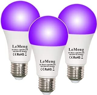 LeMeng UV LED Black Lights Bulb 9W Ultraviolet A19(75Watt Equivalent), E26 Medium Base 120V, UVA Level 395-400nm, Glow in The Dark for Blacklights Party, Body Paint, Fluorescent Poster- 3 Pack