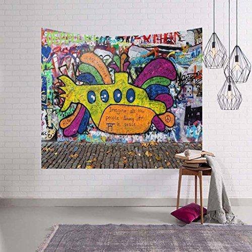 ZHOUJING Graffiti Série tapisseries Mur Couverture Serviette de Plage Assis Couverture, H, 150 * 230
