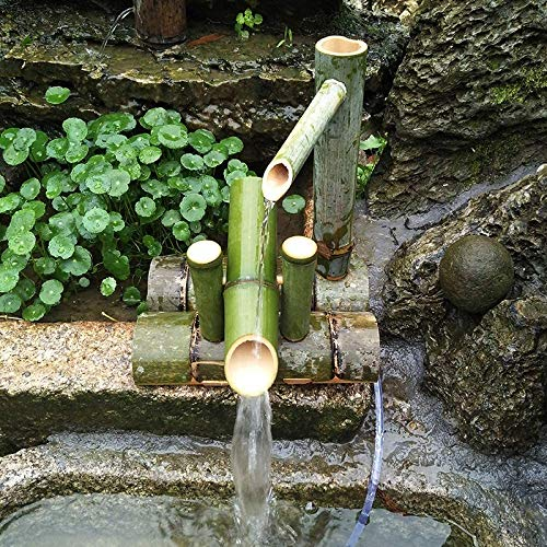 ZCED Bambusbrunnen Kit Solar Bambusbrunnen Japan Garten Wasserfall Wasserbrunnen Auslauf Im Freien 100% Handgefertigt,Length25cm
