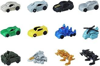 Transformers The Last Knight Tiny Turbo Changers Series 1 Set of 12 Optimus Prime Grimlock Shadow Armor Bumblebee Knight Strike Starscream Crosshairs Sideswipe Lockdown Blackout Soundwave Hound
