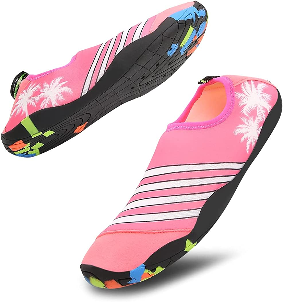 LRECHEU Mens Womens Water Shoes Quick Drying Athletic Swimming Shoes Slip On with Drawstring Backpack for Aqua Sports Beach Surf Walking Kayaking Boating Pool Yoga