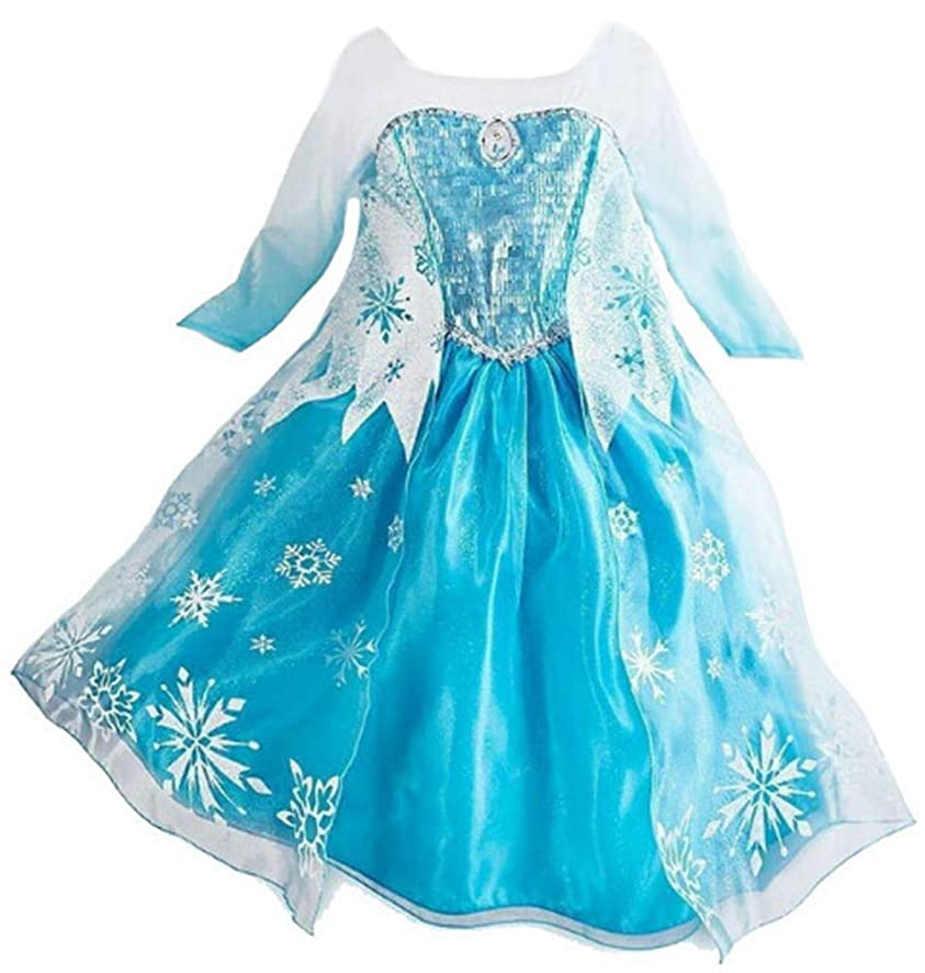 WNQY Princess Elsa Fancy Dress Costume Little Girls Christmas Cosplay Outfit Kids Party Dress Up