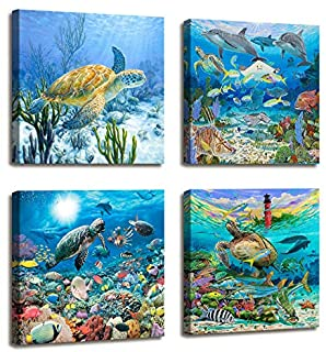 Sea Turtle Decor Beach Decor for Bedroom - 4 Panels Nautical Ocean Decor Tropical Fish Painting Canvas Prints Modern Large Canvas Artwork Framed Wall Art for Living Room Home Decor 16x16 inch 4pcs/set