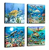 Bathroom Wall Decor Sea Turtle Wall Art Painting Ocean Photo Beach Decor - 4 Panel Modern Framed Canvas Prints Nautical Lighthouse Fish Coastal Decor Wall Picture For Home Office Bedroom Decorations