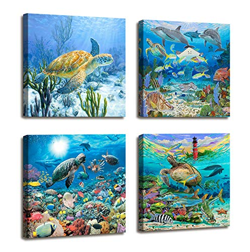 Sea Turtle Decor Beach Decor for Bedroom - 4 Panels Nautical Ocean Decor Tropical Fish Painting Canvas Prints Modern Large Canvas Artwork Framed Wall Art for Living Room Home Decor 16x16 inch 4pcs/set