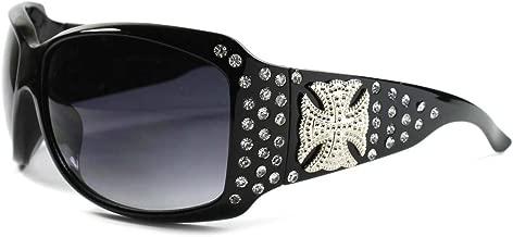 Stylish Cowgirl Fashion Bling Cross Rhinestone Womens Oversized Sunglasses