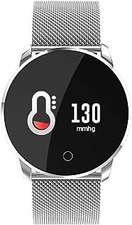 H&YL Pulsera Actividad,Color Screen Fitness Tracker con Pulsómetro Monitor De Calorías Sueño Podómetro Notificación De Mensajes Impermeable Pulsera De Deportes De Negocios,Silver