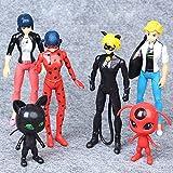 Ladybug and Toys 6pcs Set, Ladybug Toys Set Action Figure Includes Ladybug + Tikki + Cat Noir and Plagg