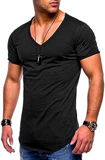 Casual Muscle Camiseta de Manga Corta para Hombre Casual Guapo con Cuello en V de Color sólido Slim Fit Daily Shirts Top Blusa Party Beach Work Summer, Cheap Clearance!