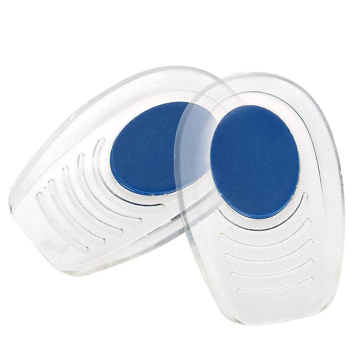 舌羽耐久ソフトインソール かかと痛みパッド ? シリコーン衝撃吸収ヒールパッド (滑り止めテクスチャー付) ブルー パッドフットケアツール (S(7*10.5CM))