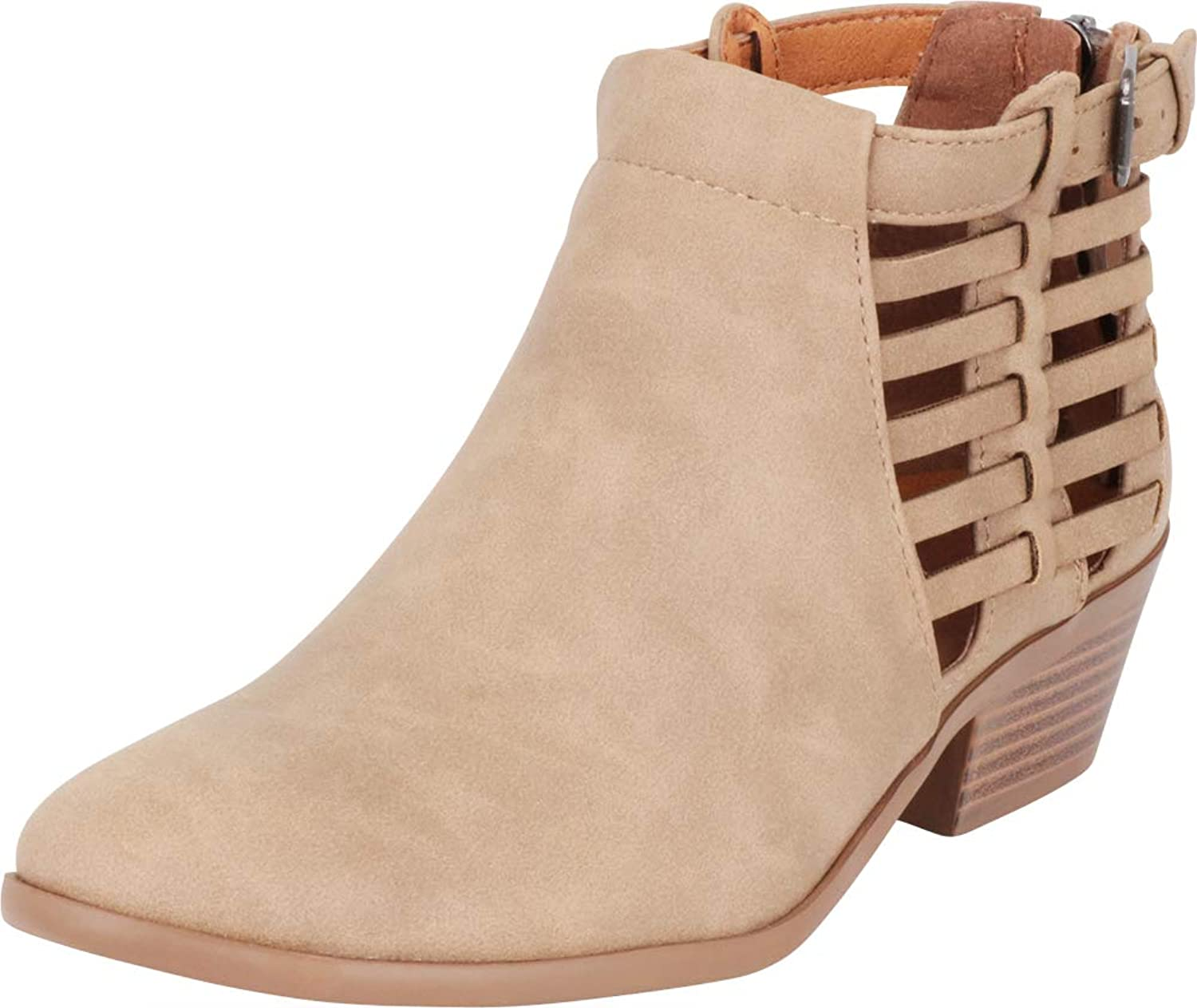 Cambridge Select Women's Strappy Buckle Cutout Caged Stacked Low Heel Ankle Bootie