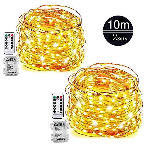 2 Pack 10M LED Lichterkette, Sinicyder 100er LED Batterie Kupferdraht Lichterketten, 8 Modi, Timer-Fernbedienung und IP65 Wasserdicht für Garten, Party, Hochzeit, Weihnacht und Deko - Warmweiß
