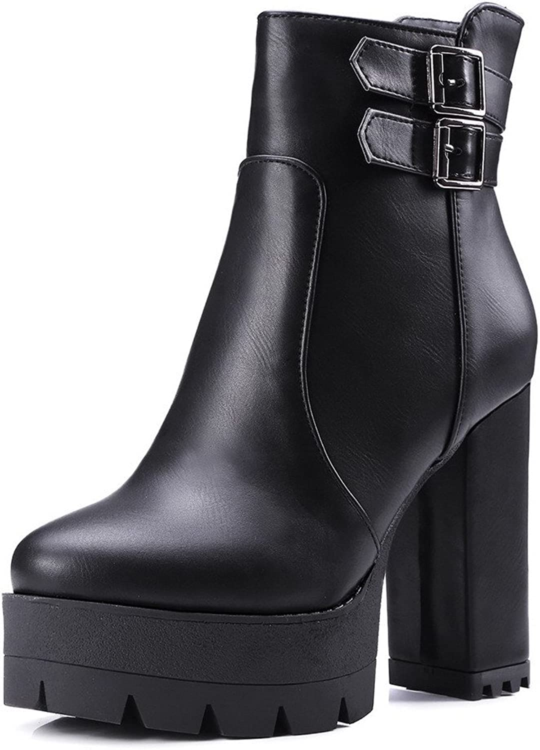 AllhqFashion Women's Round Closed Toe High Heels Low-Top Solid Boots