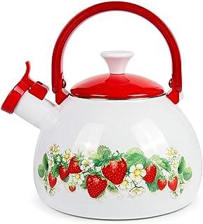 Whistling Tea Kettle Stovetop Strawberry Enamelware Kettle 2.7-qt. (2.5 L)