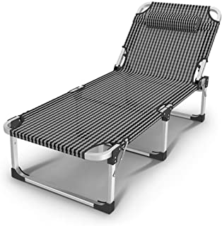 SACKDERTY Aluminium Sun Lounger Sunbed Adjustable Backrest Folding Recliner Chair with Removable Headrest Garden Furniture Lunch Break Bed