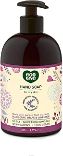 ecoLove Liquid Hand Soap with Blueberry Grape and Lavender, Vegan and Cruelty Free Natural Hand Soap, SLS Free Sulfate Free, 17.6 oz