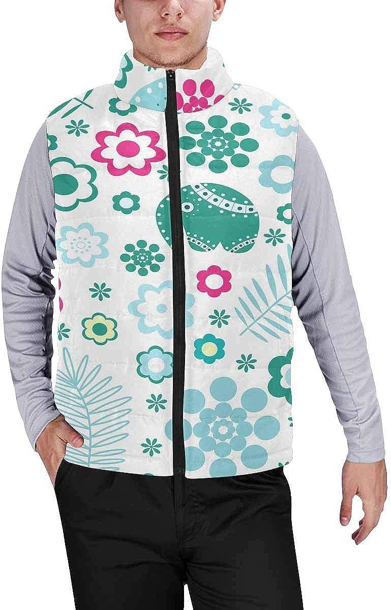 InterestPrint Men's Full-Zip Padded Vest Jacket for Outdoor Activities Flock of Flamingos