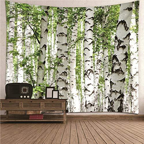BATOHOME Tapisserie Groß, Wandbehang Pflanzen Birke Wandbehang Tabelle Vorhang Wand Decor für Schlafzimmer Wohnzimmer Größe 260x240CM
