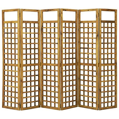 BIGTO Room Divider/Trellis 6-Panel Solid Acacia Wood 240x170 cm