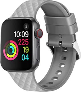 Croiky Texture Silicone Band Compatible with iWatch 40 MM Series 4 and Series 5 - Grey