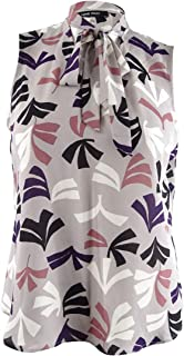 Women's Sleeveless Skinny Tie Neck Bow Blouse