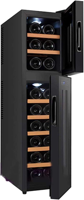 TYUIOYHZX Refrigerador de Vino de la Zona Dual de Streamine, Cellizador de Nevera de Vino for hasta 18 Botellas (hasta 985 mm de Altura), refrigerador de vinos Independientes