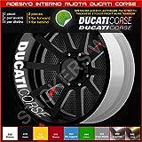 Ducati Monster Multistrada Hypermotard adesivi ruote interno strisce cerchi decalcomanie strip cerchioni UNICO COLORE Cod. 0227 (010 Bianco)