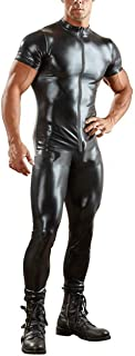Sexy Men's Wet Look Leather Bodysuit Leotard Zipper Zentai Catsuit Costume