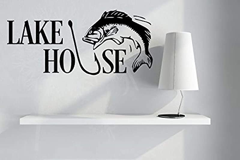Stickers Lake House With Hook Fish Camping D Cor Black Wall Decals Decor Vinyl Sticker SK16132