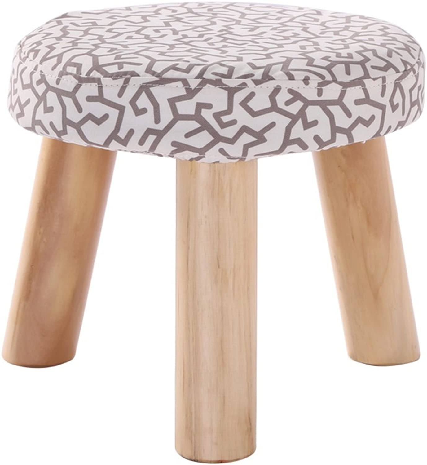 Special Solid Wood Stools Cotton and Linen Benches Low Stools shoes-Changing shoes Stools Washable Cloth Sets Household Small Stools 3 Legs (color   H)