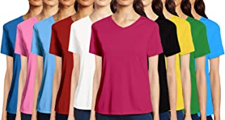 Pooplu Womens Combo Pack of 10 V Neck Half Sleeves Cotton Printed Multicoloured Tshirt.