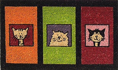 Felpudo Clásico 45 x 75 cm hecho de fibra de Coco natural. Diseño trío del gato.