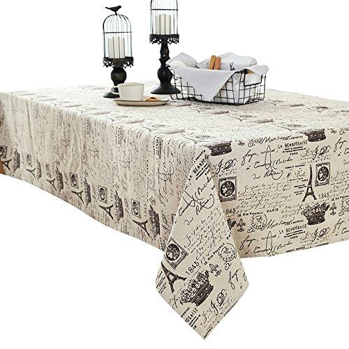 100 x 140 cm Nappe en lin Coton Imprimé Café Thé Table poussière Housse Home Decor, Tissu, blanc, 100*140CM