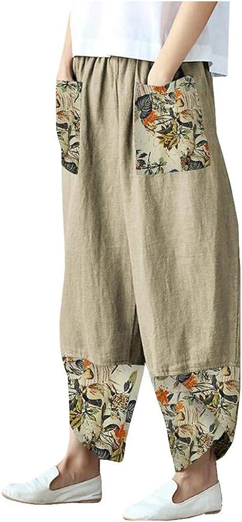 Maryia Women's Casual Print Palazzo Pants Plus Size Harem Yoga Pants Loose Comfy Vintage Boho Cropped Trousers