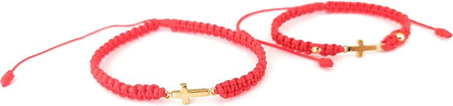 Lucky Charms USA Mommy and Me Red String Bracelet with Goldtone Cross - Set of 2