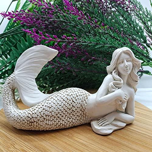 HEMEAN Meerjungfrau Skulptur,Harz Handwerk Outdoor Garten Innenhof Realistisch Statue Dekoration Malerei Kreativ Zuhause Wohnzimmer Desktop...