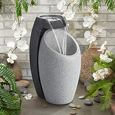 """John Timberland Modern Outdoor Floor Water Fountain with Light LED 25"""" High Waterfall for Yard Garden Home Patio Deck Home"""