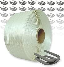 400 m Umreifungsband mit Bandspanner Umreifungsset gewebt HD 25 mm Abroller und Drahtverschlussklemmen