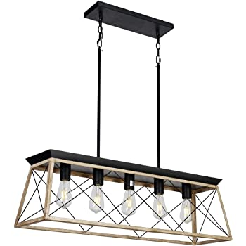 Amazon Com Dearlan Rectangular Chandelier Farmhouse Chandeliers Rustic Metal Modern Linear 5 Lights Island Ceiling Lighting Fixture Industrial Pendant Light For Dining Room Kitchen Living Room L37 4 Home Improvement