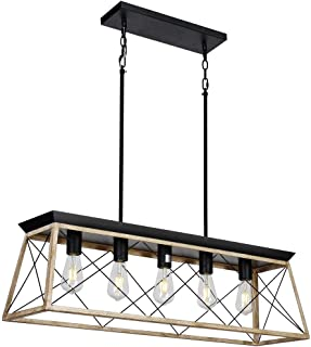 DEARLAN Rectangular Chandelier Farmhouse Chandeliers Rustic Metal Modern Linear Island Ceiling Lighting Fixture Industrial Pendant Lights for Dining Room Kitchen Living Room L37.4