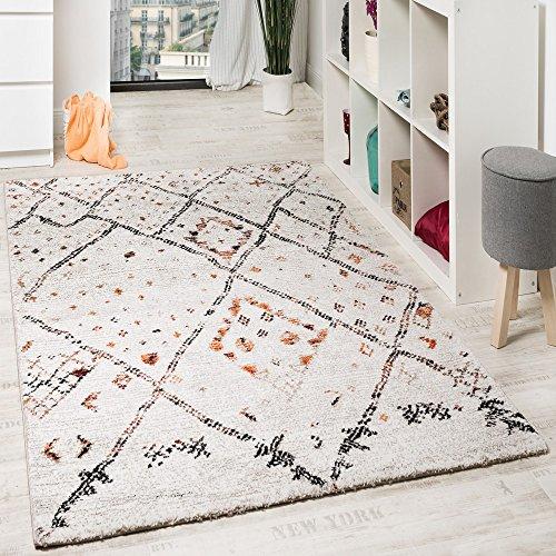 PHC Designer Teppich Modern Nomaden Teppich In Karo Motiv Meliert Creme Orange, Grösse:120x170 cm