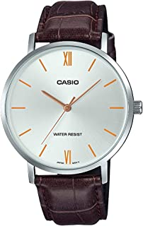 Casio MTP-VT01L-7B2 Men's Minimalistic Silver Dial Brown Leather Band Analog Watch
