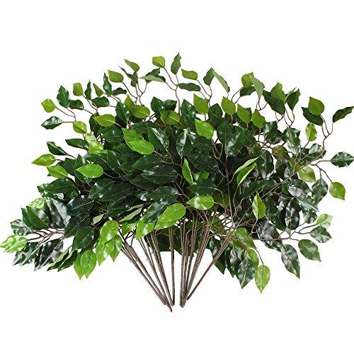 HUAESIN 12Pcs Ramas Eucalipto Artificial Hoja Eucalipto Ramo Flores de Plastico Verde Arbustos Decorativos para Exterior Interior Jarrones Mesa Hogar Jardinera Patio Boda Escritorio Fiesta Maceta